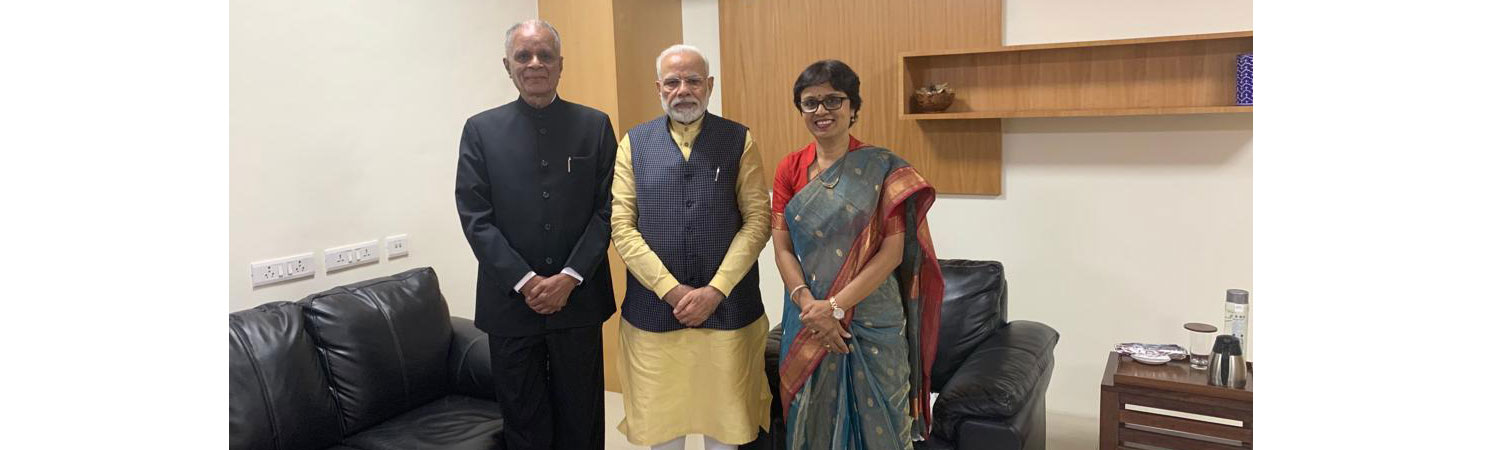 The Chancellor and Pro Chancellor with the Hon'ble Prime Minister of India.