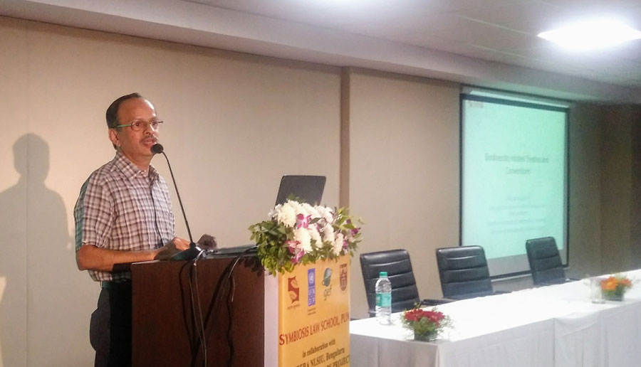Dr. Prakash Rao, Member University Biodiversity Committee during the conference on Biological Diversity Act on January 19, 2019 addressing the audience on Conservation treaties