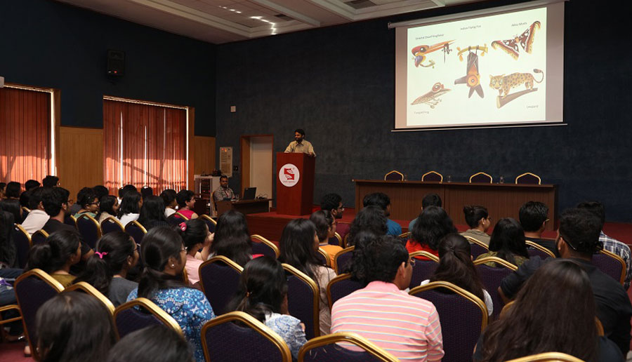 Rohan Chakravarty, Wildlife Cartoonists discussing role of media in wild life and conservation with students of Symbiosis Institute of Media and Communication (SIMC-P), Pune